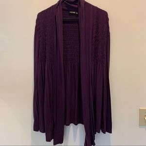 Apt. 9 Purple Open Front Cardigan